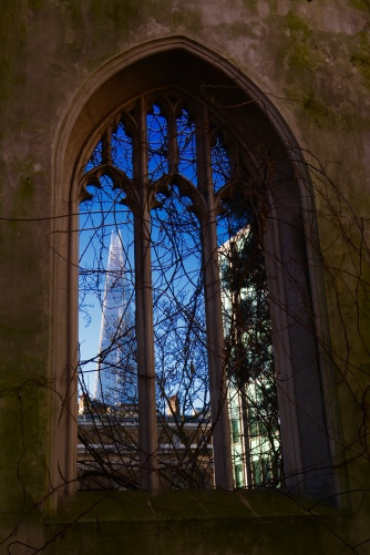 View of the Shard from St Dunstan-in-the-East