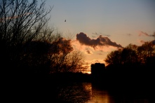 Sunset on the towpath along the Thames in Richmond.