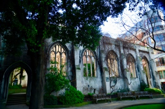 Gothic tracery in the ruins of St Dunstan-in-the-East in the City of London