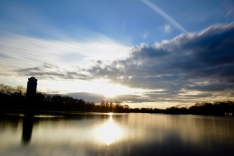 The Serpentine in London at dusk